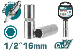 "TOTAL 1/2"" SPARK PLUG SOCKET 16mm (THSPS12166)"